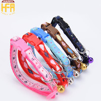 Wholesale Cloth Design Patterns - Fashion Dog Collars Patch Collar Neck Lead Pet Accessories Cartoon Cloth Patterns Nylon Adjustable Bells Design 2 Sizes Mixed Colors