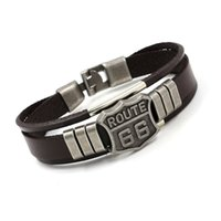 Wholesale Letter Bracelets For Men - Classic Fashion ROUTE 66 Rivet Charm Bracelets Punk Retro Multilayer Leather Bracelets For Men Women Customize Cuff Bangles Jewelry Gifts