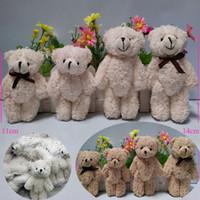 Wholesale Chain Plush Bear - 50pcs lot Mini Joint Teddy Bear plush toys chain white gummy bears 11cm animal for Wedding peluches bicho ursinho de pelucia