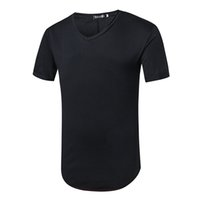 Wholesale Latest Shirts Designs For Men - Online shopping solid black colour t shirt men 2017 V neck M~XXL latest t shirt designs for men
