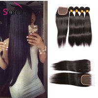 Silky Straight Brazilian Hair Weaves Top Lace Closure (4x4) com 3pcs Human Hair Bundles Grade 7A cabelo virgem brasileiro 4pcs / lot