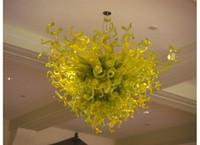 candelabros de vidrio artístico al por mayor-Diseño de Italia Blow Glass Chandelier Modern Art Decor Green Glass Artistic Lamps Hotel Lobby Decor Murano Glass Chandelier