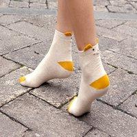 Wholesale Women Color Hosiery - Fashion Women's Cotton Sock Cartoon Pure Color Jacquard Lady's Hosiery Absorb Sweat Permeability Girl's Socks (one Size)