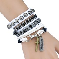 Wholesale Hip Hop Jewelry Wholesale China - Handmade Leather Bracelets Set Punk Style 2pcs Set Rivet Cross Charm Bracelet For Hip Hop Nightclub Party Men Women Jewelry