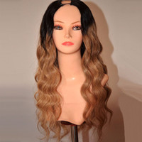 Wholesale Ombre U Part Wigs - Ombre U Part Human Hair Wig Body Wave Brazilian Virgin Hair T1b 27 Dark Root Honey Blonde Two Tone U Part Lace Wigs