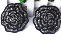 Wholesale crystal factory outlet - Factory outlet Black flower pile Hotfix Rhinestone motifs 15pcs lot iron on transfer Applique patches forclothing shoebags craft