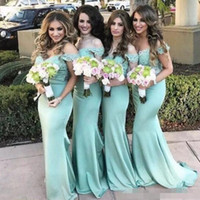 Wholesale Bateau Neckline Tops - Sexy Boat neckline Lace Mermaid Bridesmaid Dresses 2017 New Mint Lace Top Maid Of Honor Gowns Summer Beach Wedding Guest Dresses Custom Made