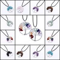 Wholesale Unique Gem Jewelry - Tree Of Life Pendant Necklace Unique 7 Design Handmade Natural Gem Stone Jewelry Charm Crystal Pendants Jewelry For Women Free DHL L6