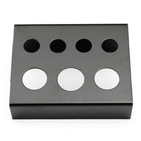 Wholesale Tattoo Ink Holders - Wholesale-7 Cap Holes Tattoo Ink Cup Holder Stand Professional Stainless Steel Pigment Cups Bracket Black Red Tattoos Tools