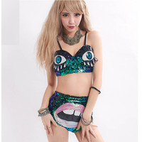 Women Stage Performance Bra Brief Sets Out Wear Sequined Eyes Bra и Sexy Lips Shorts Girl Hip Hop одежда Женские костюмы