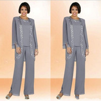 Wholesale Cheap Grey Suits - Modest 2017 Chiffon Jewel Long Grey Mother Of The Bride Pant Suits With Long Sleeve Jacket Cheap Embroidery Formal Suits Custom Made