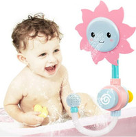 Wholesale Wholesale Baby Shower Items - 4pcs lot Kawaii Baby Bath Toy Sunflower Shower Faucet Bath Water Play Learning Education Toy Candy Color Kids Children Gift
