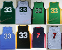 Wholesale Dream School - 33 Larry Bird Indiana State Sycamores Throwback College Jerseys 1992 USA Dream Team High School Green White Stitched With Name Size S-3XL
