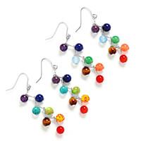 Wholesale turquoise 6mm - 7chakra Beads Earrings Yoga Jewelry Fashion Long Tassel Women Dangle Earrings 6mm Amethyst Tiger Stone Agate Natural Stone 170796