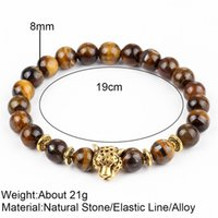 Wholesale white onyx stone resale online - 17km Dropship Leopard Head Lava Stone Onyx Bead Buddha Bracelet Stone Charm Tiger Eye Women Man Bracelets Bangle Hombre Christmas Gift