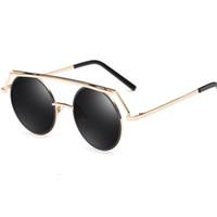 gafas de sol de forma redonda al por mayor al por mayor-2017 gafas de sol del marco redondo de la forma de la vendimia para las mujeres y los hombres marco de metal con las lentes de espejo reflexivas precio al por mayor