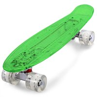 Wholesale Led Longboard - CL - 403 Transparent PC Cool LED Skateboard Complete 22 inch Retro Cruiser Longboard For Child Max Load 150kg+B