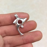 925 Silver Wish Bead Pendentif Locket / peut ouvrir Single Dolphin Cage