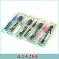 Wholesale H2 Atomizer Kit - Electronic Cigarette GS H2 atomizer with Ego T Battery Starter Kit E Cigarette 2.0 ml Atomizer 650 900 1100 mah EGO Battery