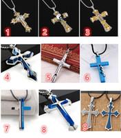 cruces azules frias al por mayor-Nuevos Hombres Frescos Plata Azul Plata Acero Inoxidable Cruzado Cruz fe Colgante Cuerda Negra Collar de Cadena Accesorios Mejores Deseos de Regalo