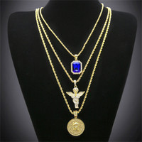 Wholesale tin plated copper - Hip Hop Gold Plated Necklace Iced Out Rhinestone Crystal Jewelry Necklace Set With Angel Jesus Pendant Necklace Chain Hot Sale
