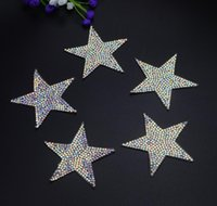 Wholesale Crystal Rhinestone Appliques Wholesale - Free ship Sparkling AB color crystal rhinestone Five-pointed star design patches sequined shoes hats bags applique iron on motif