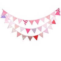 Venta al por mayor- 3pcs / lot 12 banderas - 3.2M Banderas de tela de algodón Pink Bunting Decor Wedding Garland Chica de cumpleaños Party Decoration Bunting
