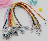 Vente en gros - Hot 100Pcs / lot mélangé Leatheroid Braided Fatima Hand Kabbalah Hamsa Evil Eye Charms Bracelets