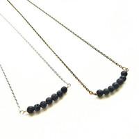 Wholesale Necklace Pendant Lava - (10pcs) Minimalist Yoga Lava Bead Bar Aromatherapy Jewelry Simple Essential Oil Diffuser Necklace