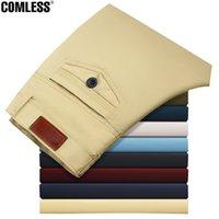 Wholesale Men S Business Pants - Wholesale- 2016 Fashion Brand Slim Fit Pants Men Fashion Casual Pants Washed Cotton Business Trousers 8 Colors Design Plus Size 28-44