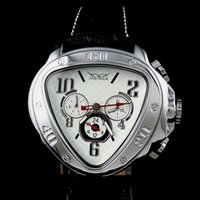 blanco relojes automático mens al por mayor-Nuevo arrvial Mens Fashion esfera blanca Unique triangular AUTOMATIC MECHANICAL Reloj