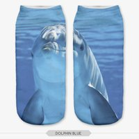 Wholesale Dolphin Socks - Wholesale- 3D blue dolphin Printing Socks Cotton Polyester Casual Sock Unisex Low Ankle Sock 19cm*8cm 1 Pair Christmas Gift New Wholesales