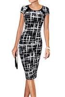 Wholesale Mid Wholesale Bodycon Dresses - Women Casual Work Dresses Short Sleeve dress sketch print dresses fashion Business Office Dress slim Pencil Dress free shipping
