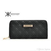 ingrosso borsa lunga portafoglio borsa-New White Black Kk Portafoglio Lungo Design Donne Portafogli PU Leather Kim Kardashian Kollection High Grade Clutch Bag Zipper Coin Purse Handbag