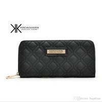 yüksek tasarım cüzdanlar toptan satış-Yeni Beyaz Siyah Kk Cüzdan Uzun Tasarım Kadın Cüzdan PU Deri Kim Kardashian Kollection Yüksek Dereceli Debriyaj Çanta Fermuar Sikke çanta Çanta