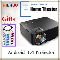 Wholesale best dlp projectors for sale - Group buy Best HD Projector LED Mini Portable Quad Core Android Digital Projectors Wifi Bluetooth Wireless Display Video Home Theater