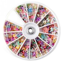 Wholesale Mix Rhinestones Wheel - 1200pcs Mixed 3D DIY Nails Glitter Shining Rhinestones Pearl Polymer clay Art Tips Decoration 8cm Wheel Nail Tips