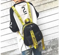 Wholesale Hip Hop Style Girl - brand off white backpack yellow letter fashion bag pink hip hop school bag men women nylon designer high quality rock bolsa