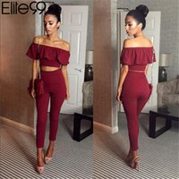 Wholesale Womens Long Sleeve Crop Tops - Elite99 Casual Women Suits Sexy Two Piece Outfits Girls Crop Top And Long Pants 2 Piece Women Set Bodycon Suit Womens Clothing
