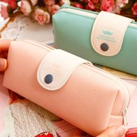 Wholesale Mustache School Bags - Fresh Solid Candy Color Mustache Pattern Pu Leather Pencil Case Bag Pen Bag For Girl Stationery Office school Supplies