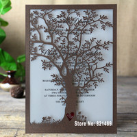 Wholesale Rustic Tree Wedding Invitation, Laser Cut Tree Invitations,  Printable Wedding Invitation Cards  Pack Of 50