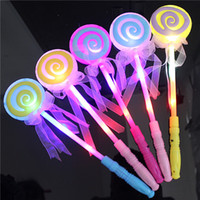 ingrosso bastoni di bacchetta di plastica-Sugar Circle Fairy Sticks Lecca-lecca Nastri LED Light Up Stick Plastica Per ragazza Forniture per feste Bacchetta elettronica Rosa 2 18mw B R