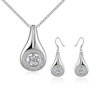 Wholesale Mosaic Necklace Set - wedding Hollow disc mosaic sterling silver plated jewelry sets for women DS685,popular 925 silver necklace bracelet jewelry set