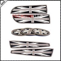 Wholesale Car Coasters Wholesale - xterior Accessories Car Stickers 7pc Soft Silicone Black Grey Union Jack Style Cup Holder Coasters, Side Door Compartment Mats For MINI C...