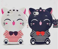 Wholesale Silicon Animals - Cute Silicon 3D Cat For iphone 5S Case For iphone 5 SE 6 6S Plus 7 7plus Cartoon Animal Rubber Phone Back Cover