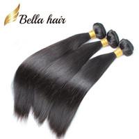 Wholesale Human Hair 24inch - 8A Brazilian Hair Extensions 10-24inch Hair Weft 100% Human Hair Weaves Natural Color Silky Straight Bundles Bella