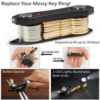 Wholesale Wallet Key Clip - Key Ninja Aluminum Fashion Key Holder Wallet Clip Organizer Pocket Dual LED Lights Car Key Bag Case Housekeeper Keys Chain free shipping