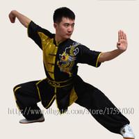 ropa wushu al por mayor-Ropa de Kungfu uniforme de Wushu chino traje de artes marciales traje de taolu Kimono de rutina Dragón bordado para hombres mujeres niño niña niños adultos
