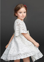 Wholesale Chinese Formal Short Dresses - Baby Girl Kids Clothes Spring Summer Girls Short Sleeve Cotton Crochet Lace Hollow Out Princess Party Tutu Dress