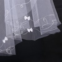 Wholesale Wedding Dresses Embroidered Shoulders - Cheap White or Ivory One Layer Wedding Veil With Bow About 1.5 Meters Embroidered Tulle Bridal Veils For Wedding Dresses